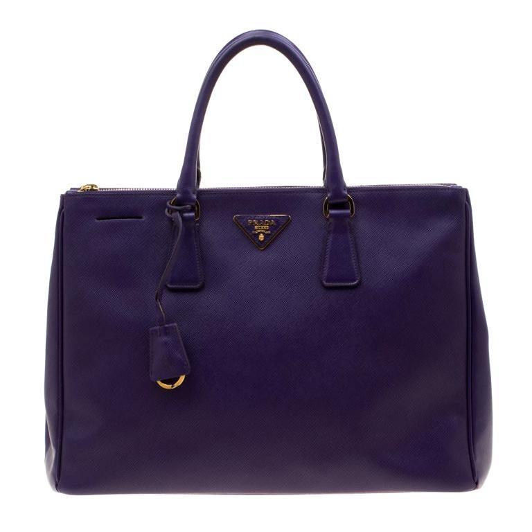 Prada Purple Saffiano Lux Leather Large Double Zip Tote