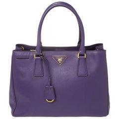 Prada Purple Saffiano Lux Leather Medium Tote