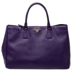 Prada Purple Saffiano Lux Leather Snap Tote