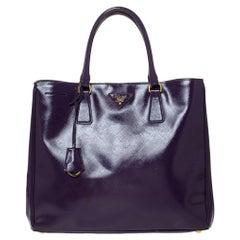 Prada Purple Saffiano Patent Leather Tote
