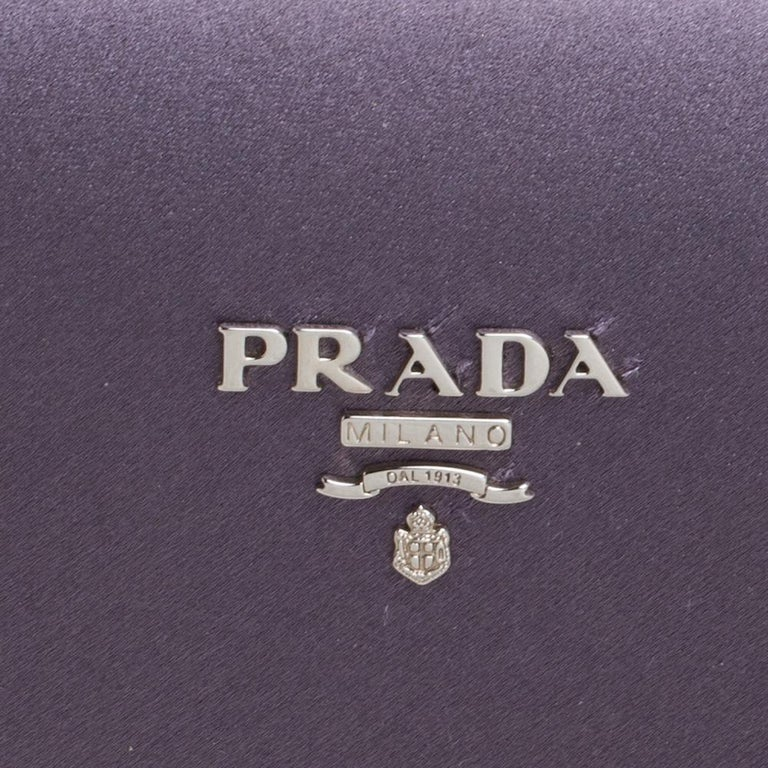 Prada Purple Satin Box Clutch For Sale 5
