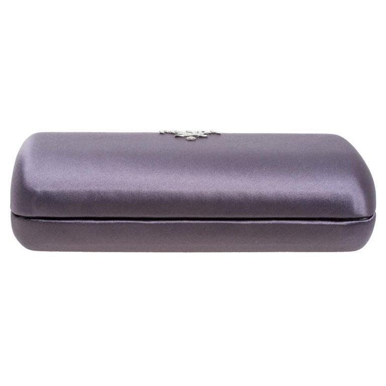 Women's Prada Purple Satin Box Clutch For Sale