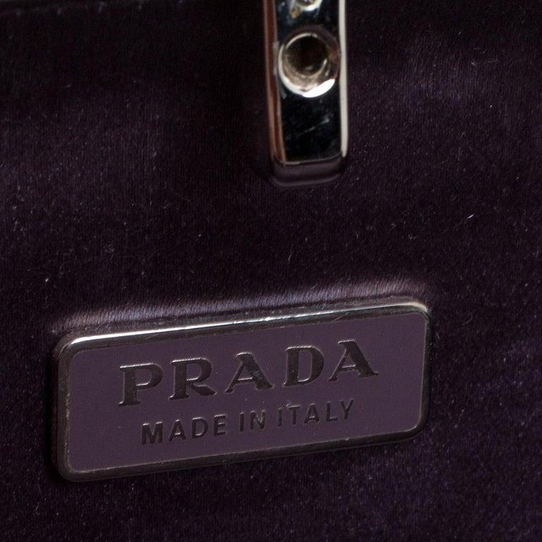 Prada Purple Satin Box Clutch For Sale 1
