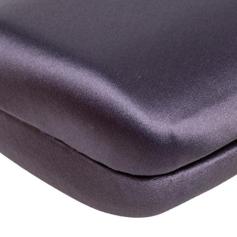 Prada Purple Satin Box Clutch For Sale 2