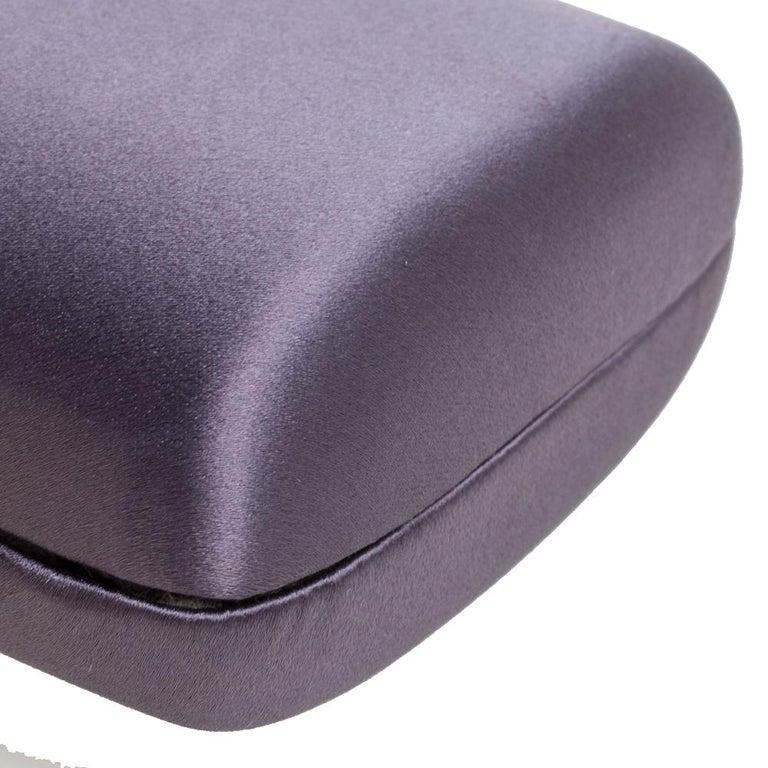 Prada Purple Satin Box Clutch For Sale 3