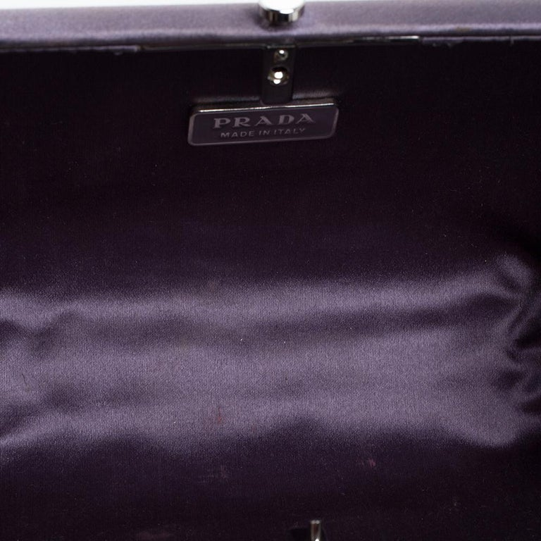 Prada Purple Satin Box Clutch For Sale 4