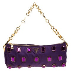 Prada Purple Satin Jeweled Chain Clutch