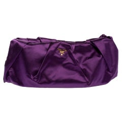 Prada Purple Satin Raso Pleated Clutch