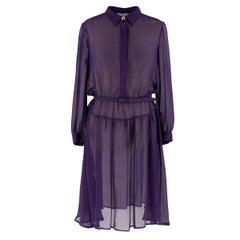 Prada Purple Sheer Belted Shirt Dress 38