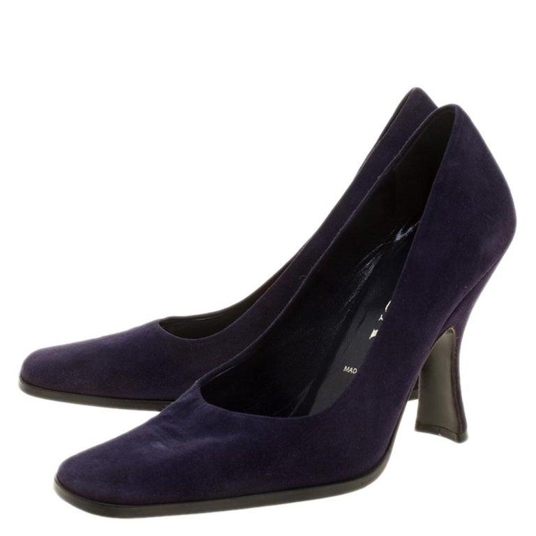 Women's Prada Purple Suede Square Toe Pumps Size 37 For Sale