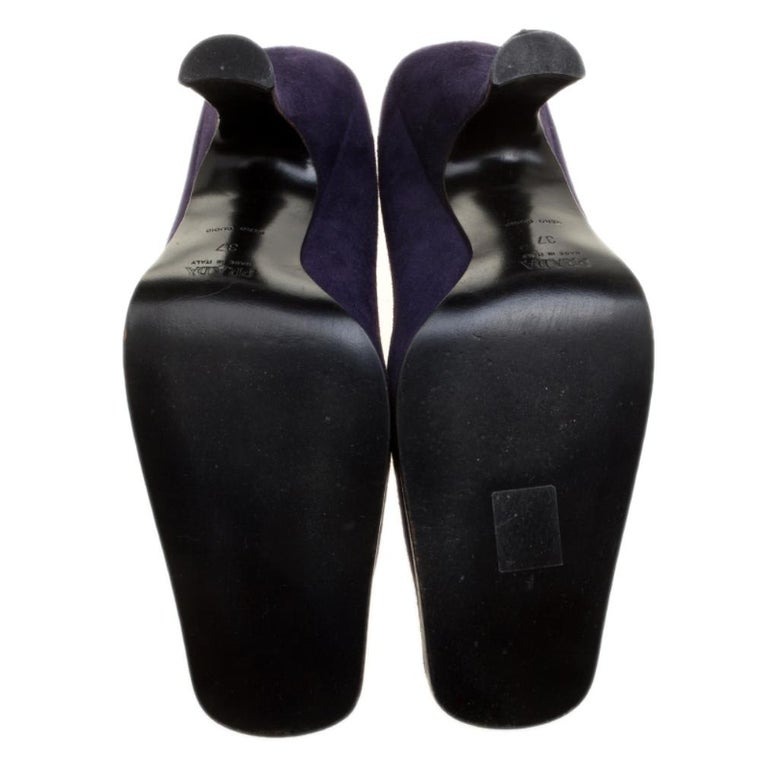 Prada Purple Suede Square Toe Pumps Size 37 For Sale 2
