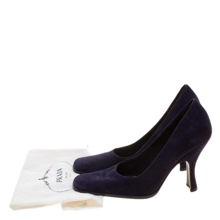 Prada Purple Suede Square Toe Pumps Size 37 For Sale 4