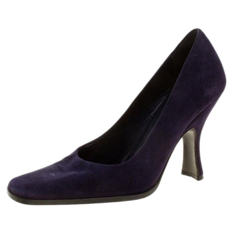 Prada Purple Suede Square Toe Pumps Size 37 For Sale