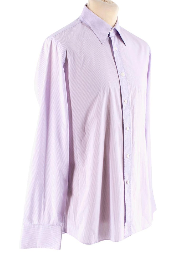 Prada Purple & White Striped Cotton Shirt   - Button down front closure  - buttoned cuffs  - Pointed Collar  - Rounded hemline   Materials  57% Cotton  37% Polyester   Machine Washable   Made in Italy   shoulders: 14.5cm Sleeves: 67cm Length: 67cm