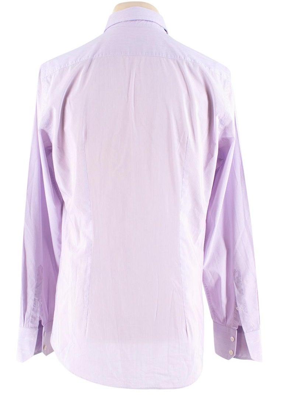 Gray Prada Purple & White Striped Cotton Shirt 15.5 For Sale