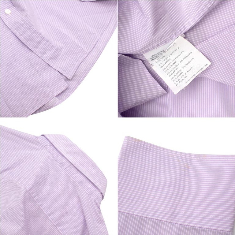 Prada Purple & White Striped Cotton Shirt 15.5 In Excellent Condition For Sale In London, GB