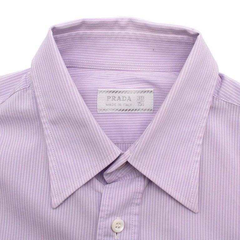 Women's or Men's Prada Purple & White Striped Cotton Shirt 15.5 For Sale