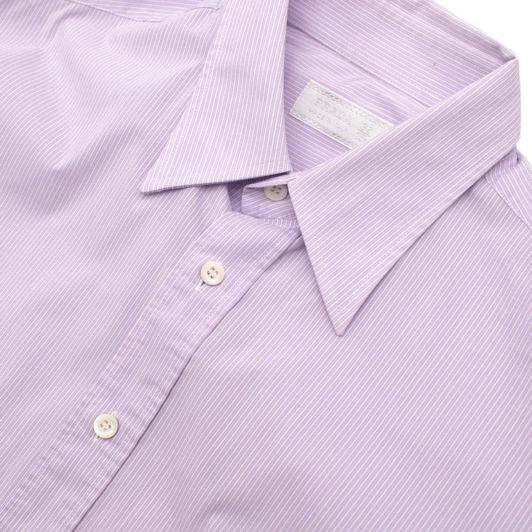 Prada Purple & White Striped Cotton Shirt 15.5 For Sale 1