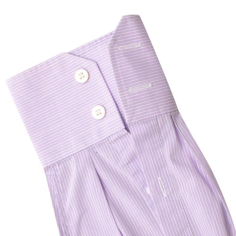 Prada Purple & White Striped Cotton Shirt 15.5 For Sale 2