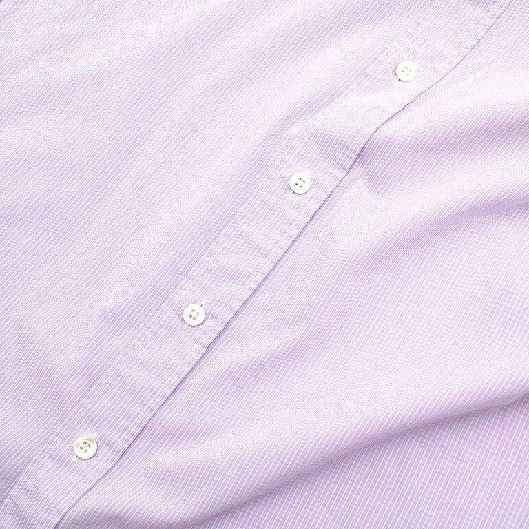Prada Purple & White Striped Cotton Shirt 15.5 For Sale 3