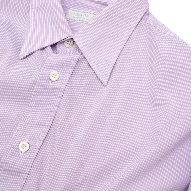 Prada Purple & White Striped Cotton Shirt 15.5 For Sale 4