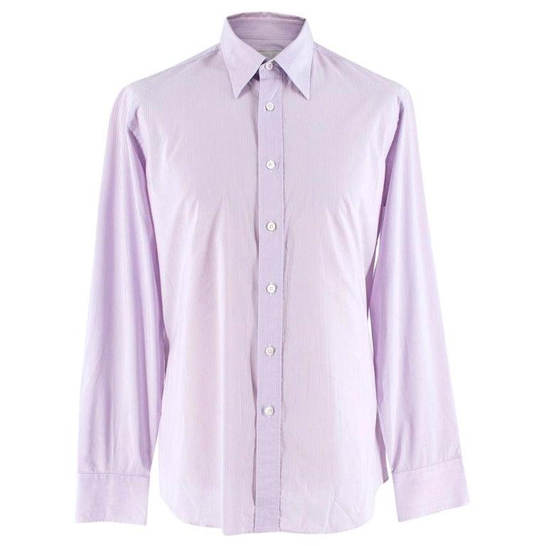 Prada Purple & White Striped Cotton Shirt 15.5 For Sale