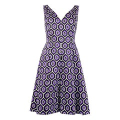 PRADA purple wool PRINTED Sleeveless Dress 40