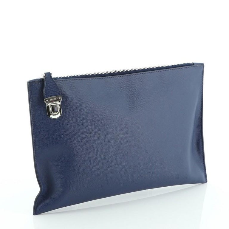 Prada Push Lock Zip Pouch Saffiano Leather In Good Condition For Sale In New York, NY