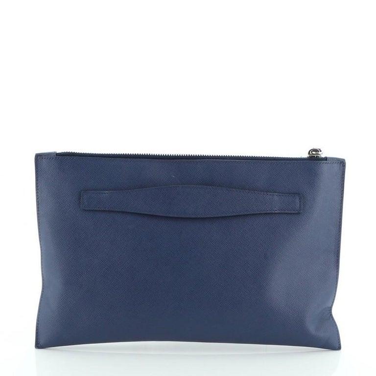 Women's or Men's Prada Push Lock Zip Pouch Saffiano Leather For Sale