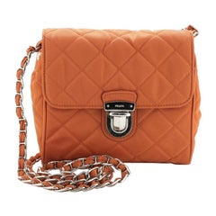 Prada Pushlock Chain Flap Bag Quilted Tessuto Mini