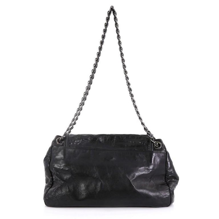 Prada Pushlock Chain Flap Shoulder Bag Nappa Antique Medium In Good Condition For Sale In New York, NY