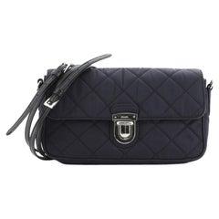 Prada Pushlock Flap Crossbody Bag Quilted Tessuto with Saffiano Small