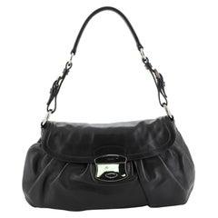 Prada Pushlock Shoulder Bag Soft Calfskin Medium