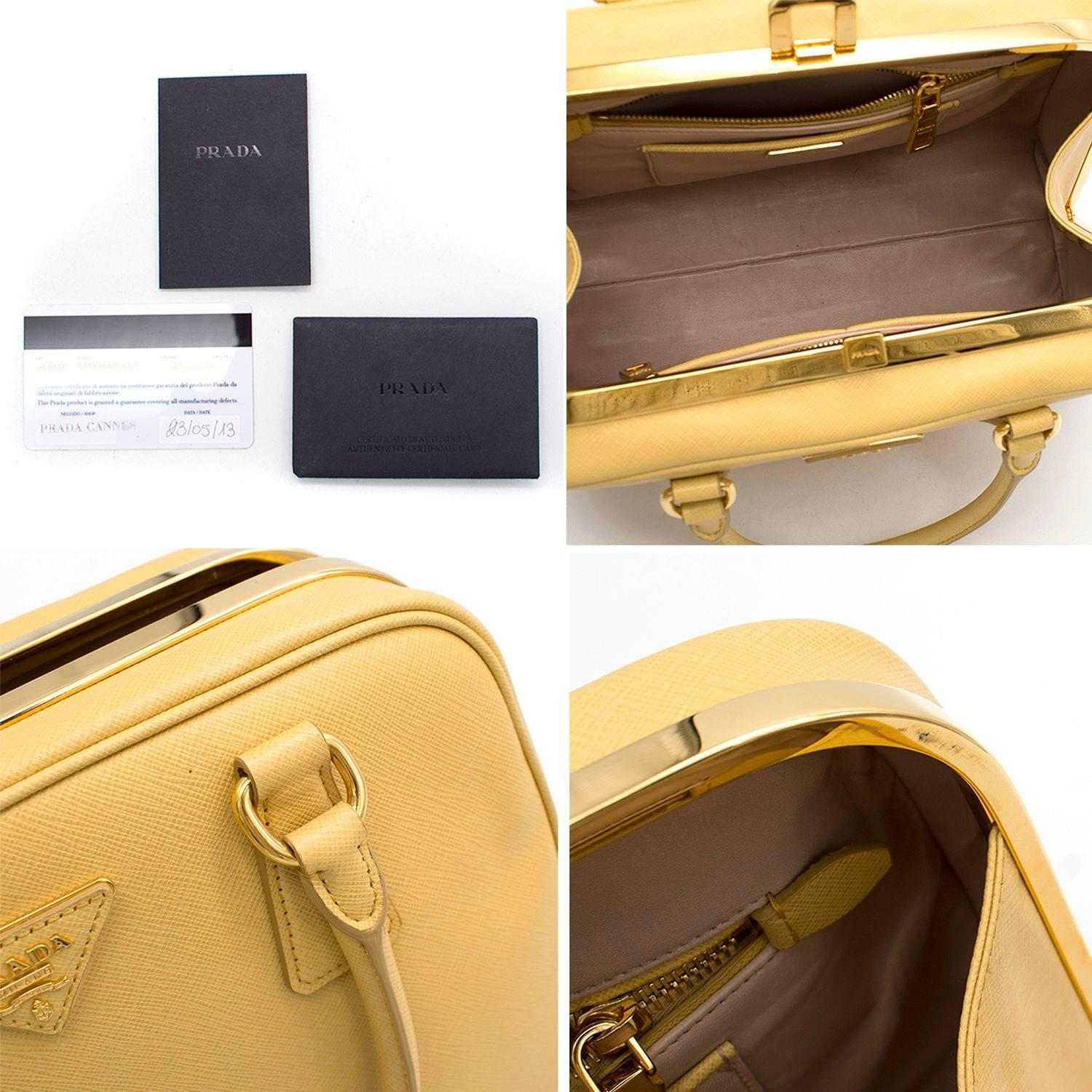Prada Pyramid Canary Yellow Top Handle Bag For Sale at 1stdibs 7d1f0c05667ec