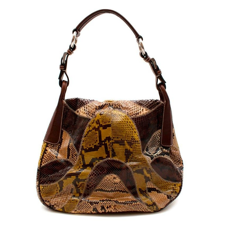 Prada Python Shoulder Bag  - Brown leather handle straps  - Different colour ways on the bag including green and tanned tones  - Silver hardware on the straps and inside  - Cream top stitching  -  Very good condition - hardly any ware on the