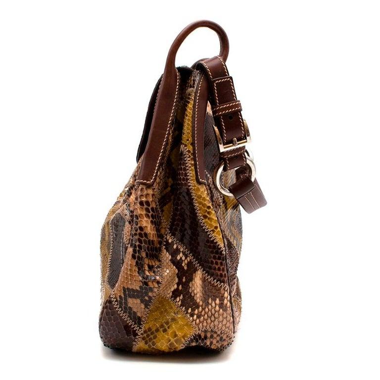 Brown Prada Python Patchwork Shoulder Bag For Sale