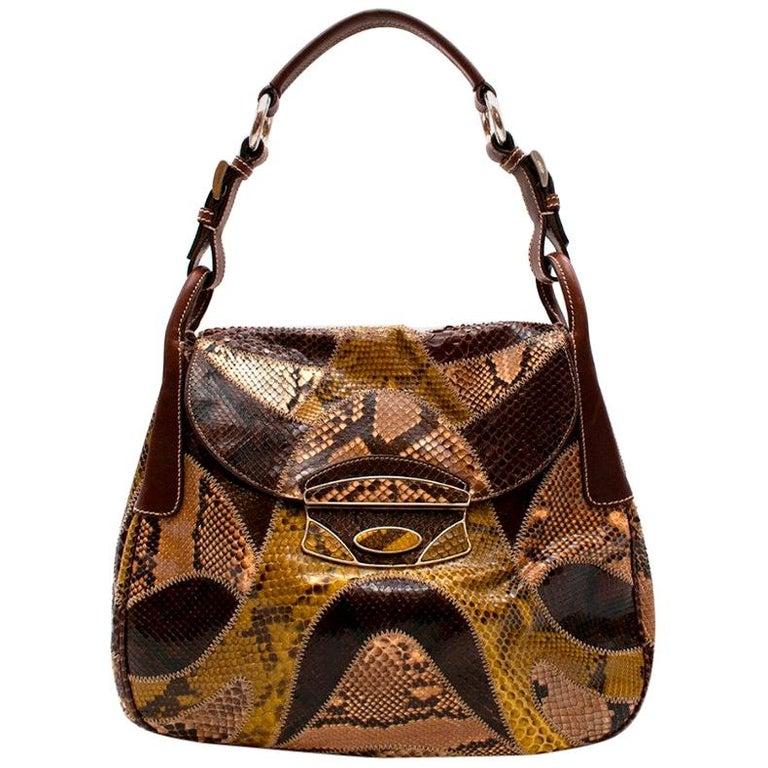 Prada Python Patchwork Shoulder Bag For Sale