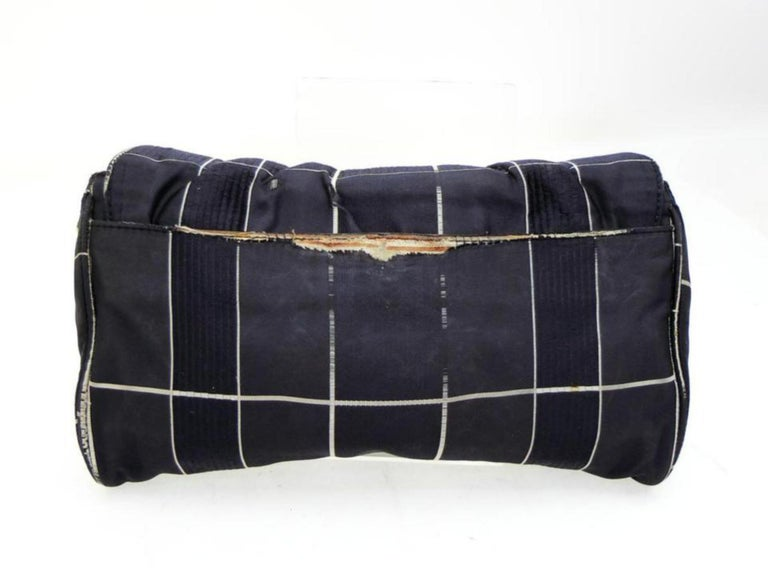 f97a945ff6b8 Prada Quilted Chain Flap 228162 Navy Silk Cross Body Bag For Sale at ...