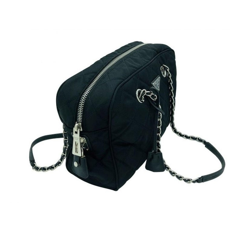 Women's PRADA Quilted Nylon Tessuto Impuntu Bag - Black Nylon For Sale