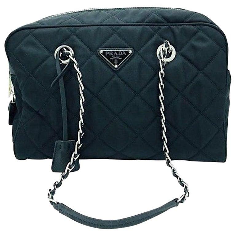 PRADA Quilted Nylon Tessuto Impuntu Bag - Black Nylon For Sale