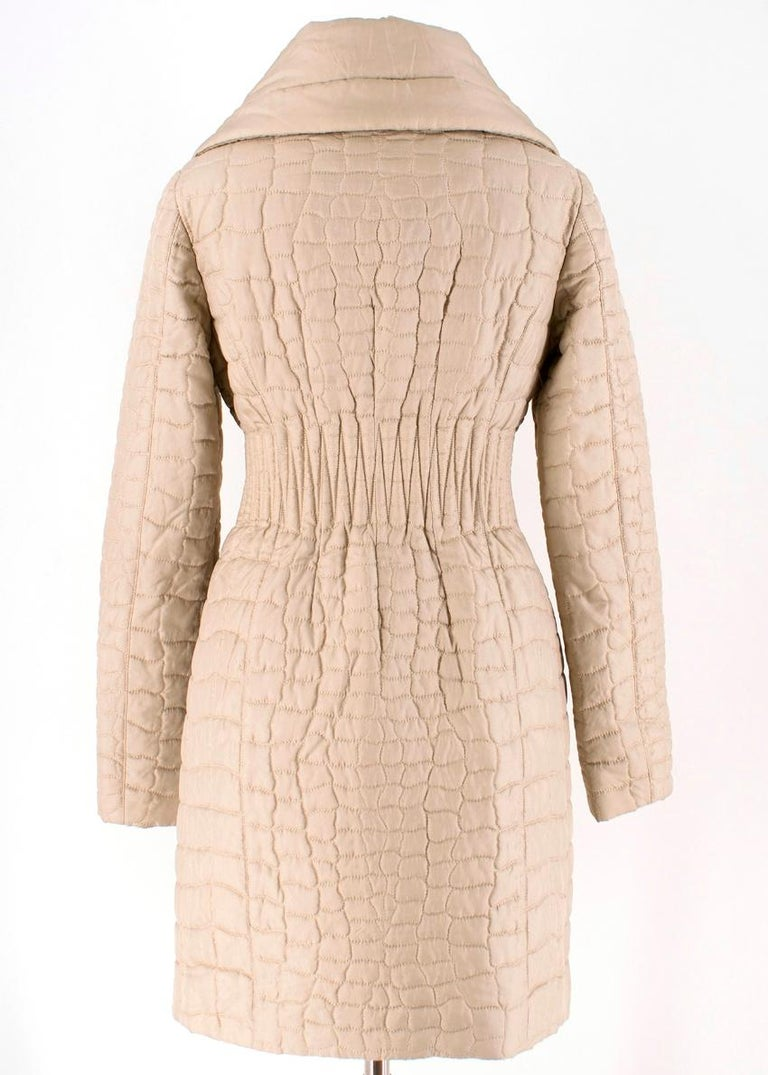 Prada Quilted Silk Midi-Length Coat  XS 40  In Excellent Condition For Sale In London, GB