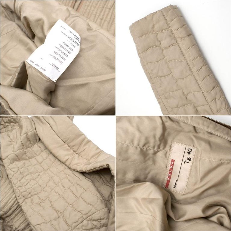 Prada Quilted Silk Midi-Length Coat  XS 40  For Sale 2
