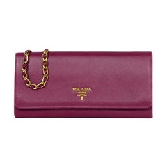 Prada Raspberry Saffiano Metal Oro Chain Wallet Crossbody Bag rt $875