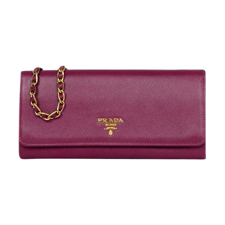 Prada Raspberry Saffiano Metal Oro Chain Wallet Crossbody Bag Rt 875