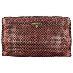 PRADA Red & Black CHeckered Woven Leather Clutch Handbag