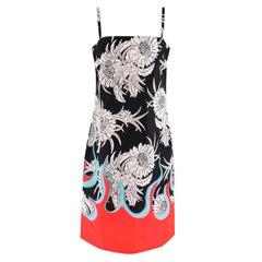 Prada Red & Black Floral Flame Print Slip Dress - Size US8
