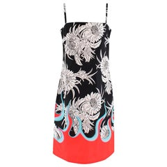 Prada Red & Black Floral Flame Print Slip Dress - Size US 8