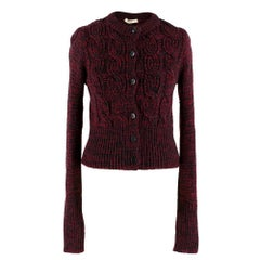 Prada Red & Black Wool Cable Knit Crop Cardigan SIZE 42 IT