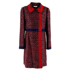 Prada Red & Blue Wool Blend Tweed Coat XL 48