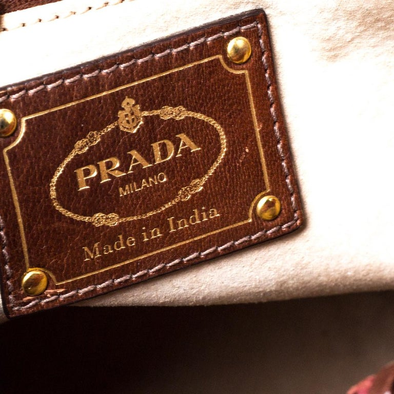 Prada Red/Brown Woven Leather Madras Top Handle Bag For Sale 6